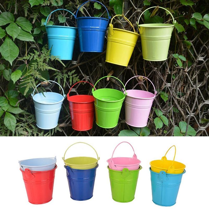 unidslote moda colorida macetas vertical jardn jardineras macetas de metal colgar colgar cubo