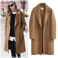 Шерстяное женское высококачественное свободное Элегантное однобортное шерстяное пальто больших размеров женское корейское повседневное ...