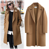 Wool Women High Quality Plus Size Loose Elegant Single Breasted Woolen Coat Womens Korean Casual Coats Autumn Winter Fashion