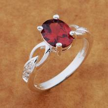 925- Sterling -Silver Ring Fashion Jewerly Ring Women&Men glittering/red stone /avlajmsa chrakyya AR566(China)