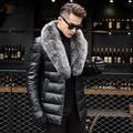 Men's Genuine Leather Jacket Thick Lambs Wool Jacket Male Fox Fur Collar Jaqueta Couro Masculino Plus Size Down Coat MZ1129