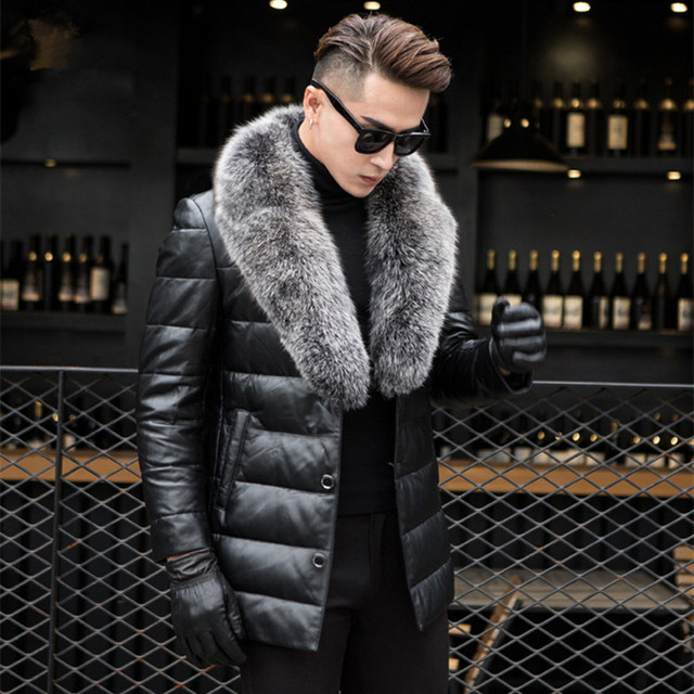 Men's Genuine Leather Jacket Thick Lambs Wool Jacket Male Fox Fur Collar Jaqueta Couro Masculino Plus Size Down Coat MZ1129