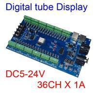 DC5V-24V 36CH RGB DMX512 디코더 LED DMX XRL 3P 컨트롤러 36 채널 12 그룹 RGB 스트립 LED 램프 빛에 대 한 최대 36A 출력