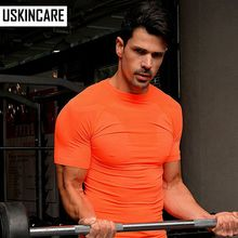 Men Fitness Comression T-shirt Polyester Base Layer Short-Sleeve O Neck Quick Dry Breathable Soft Elastic Running Gym Body Build