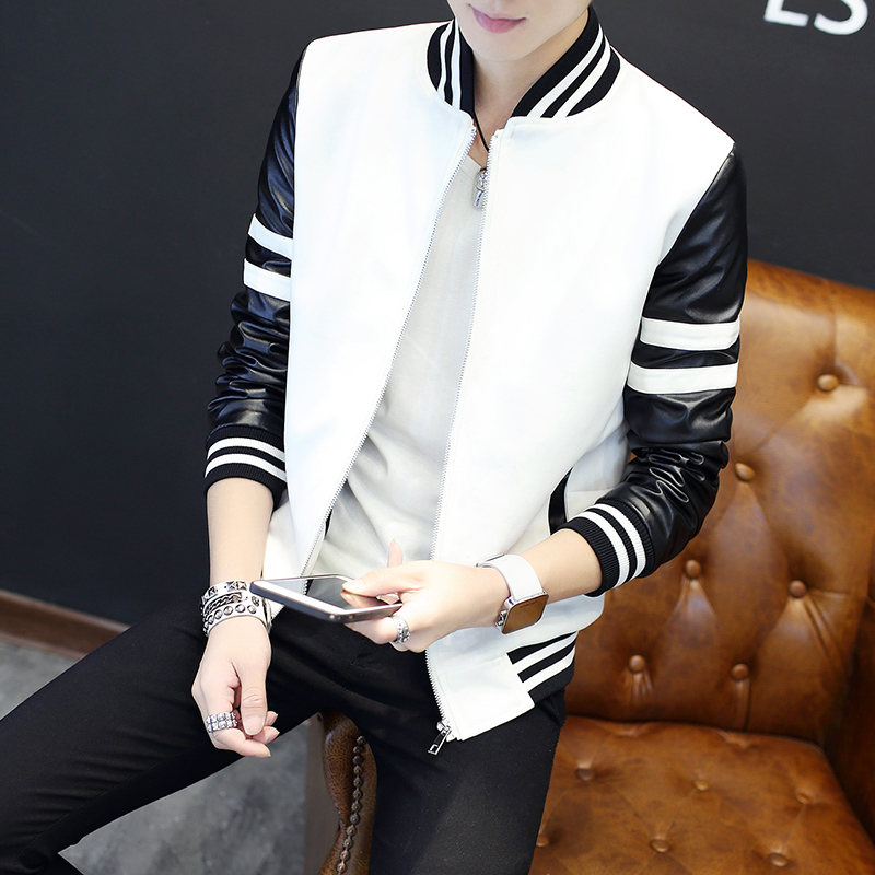 The New 2020 Spell Leather Jackets Men Fall Of Cultivate One's Morality Leisure Boom Baseball Stitching Stripe Jacket