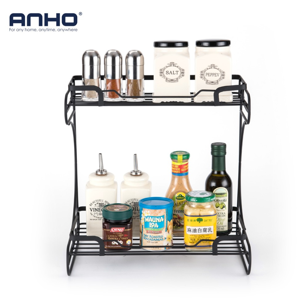 Kitchen Shelf Rack For Spices Seasoning Bottles Storage Organizer Holders Display Stand Double Layer