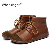Whensinger 2017 New Women Shoes Genuine Leather Vintage Boots Autumn Winter Style Handmade Sewing 2501