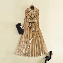 HIGH QUALITY Newest 2018 Designer Trench Coat Women's Long Sleeve Extra Long Velvet Trench Overcoat