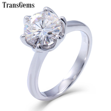 Transgems 2 Carat ct F Color Engagement Wedding Lab Grown Moissanite Diamond Ring Solid 14K 585 White Gold Jewelry For Woman