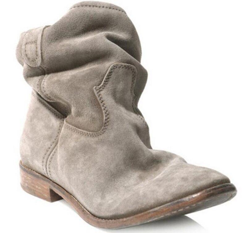 где купить Berdecia Hot Designer Black Gray Brown Crisi Suede Concealed Wedge Ankle Boots Slip On Calfskin Biker Boots Ladies Shoes Woman по лучшей цене