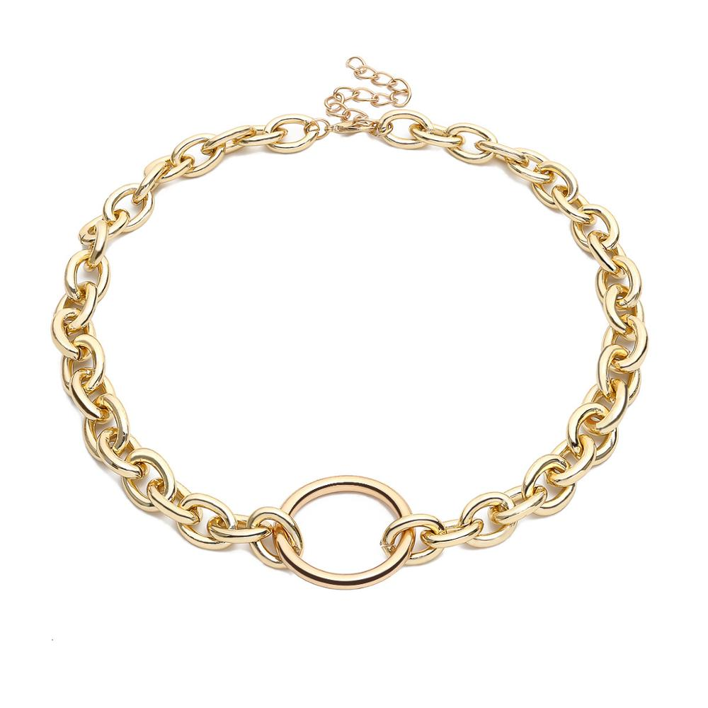 KMVEXO Punk Curb Thick Chain Women Vintage Statement Jewelry Sets 2019 Gold Collar Choker Sweater Necklace Set Gift Ne+BR