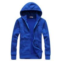 New 2017 Plain Mens Zip Up Hoody Jacket Sweatshirt Hooded Zipper Male Top Outerwear 4 Colors
