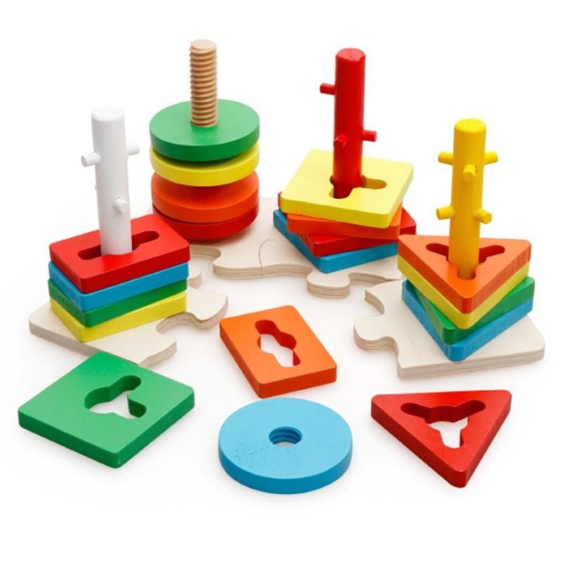 Dental House Wooden Montessori Mathematics Geometric Assembling Blocks Colorful Sorting Board Block Set Design Shape Infant Gift