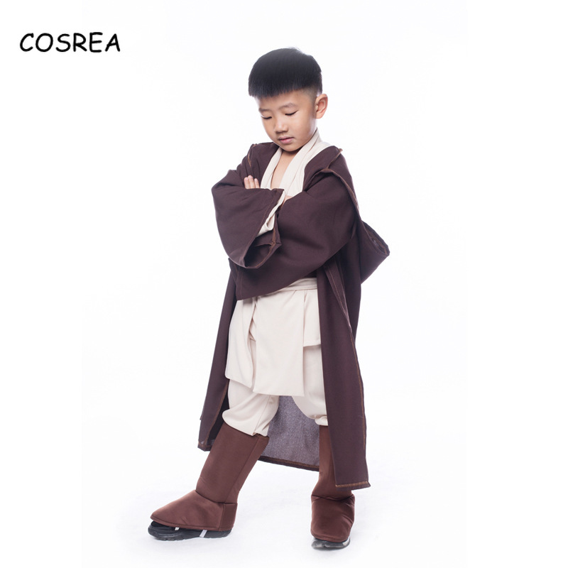 Movie Star Wars Cosplay Costume Deluxe Jedi Warrior Character Cosplay Party Clothing Fancy Halloween Purim Carnival Kids Boys