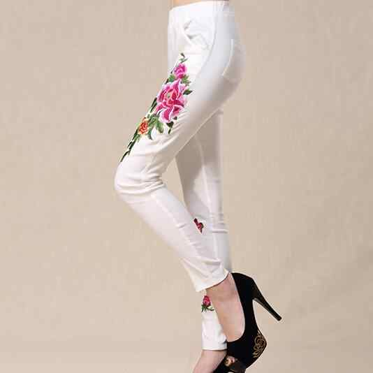 2018 Women spring autumn bohemian design long black white embroidery pencil pant trousers traditional Chinese clothing AF597