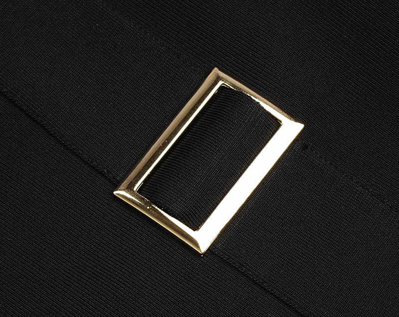 ファッション黒 V ネックノースリーブチェーンスリットセクシーなミニ女性の包帯ドレス夜のパーティードレスフォーマルドレス