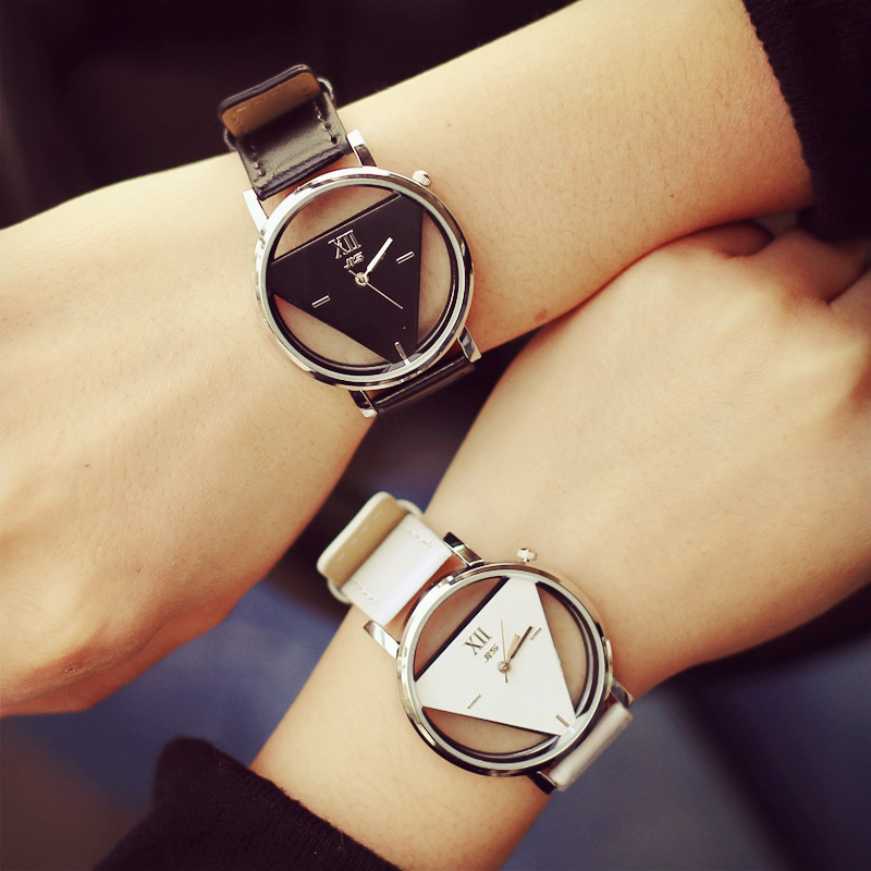 Fashion JIS Brand Hollow Black White PU Leather Japan Core Quartz Wrist Watch Hours Clock for