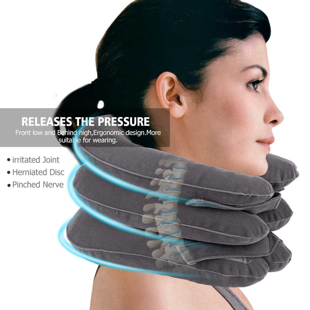 คอนวด Inflatable Air คอปากมดลูกคอปวดไหล่คอกล้ามเนื้อผ่อนคลายหมอนปากมดลูก Massager รั้ง