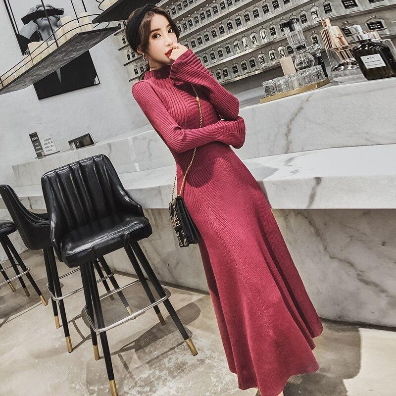 Korean Fashion Knitted Autumn Winter Dress 2018 New Womens Flare