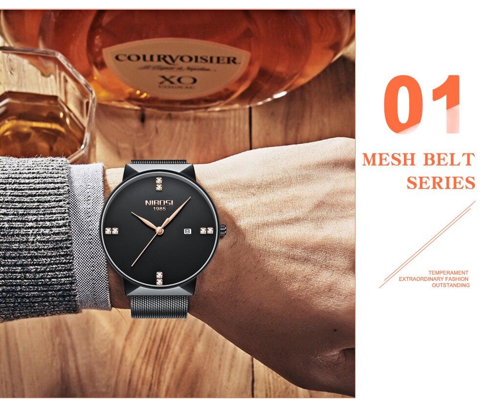 NIBOSI 2018 New Fashion Simple Watch Slim Mesh Band Mens Dress Watches Top Brand Luxury Male Relogio Masculino Quartz Wristwatch (12)