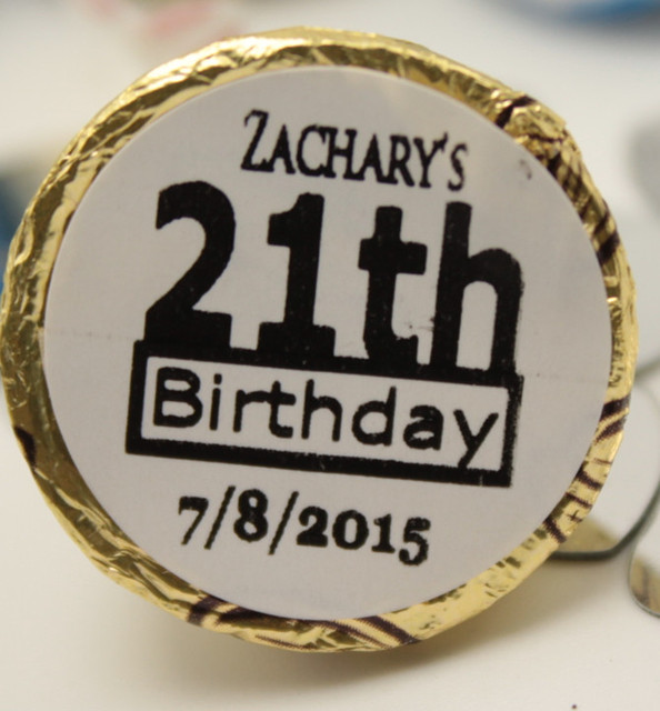 125 Pcs Adults 21st Birthday Party Favors Custom Personalize Hershey Kiss Sticker Candy Wrapper Labels