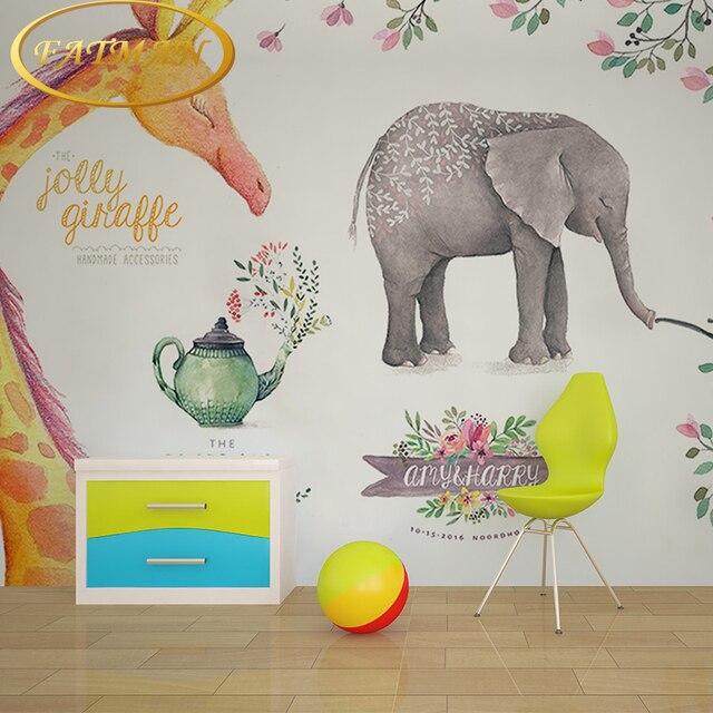 Custom Photo Wallpaper 3D Stereoscopic Giraffe Elephant Watercolor Wallpaper  Mural Decorating Bedroom TV Background Wallpaper