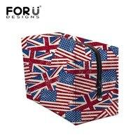 Big Size Donne Dell'annata Sacchetti di Trucco UK USA Flag di Stampa Zipper Caso Cosmetico Semplice Casual Ragazza Signora Sacchetto di Immagazzinaggio di Viaggio organizzatore