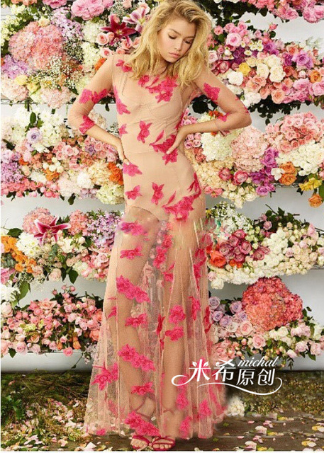 Embroidered rashguard floor length dress beach fairy gowns transparent  dresses girl womens clothing flower trumpet dress mermaid b67c09992977