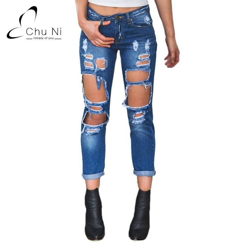 ФОТО Boyfriend Hole Ripped Jeans Women Pants Cool Denim Vintage Straight Jeans For Girl Mid 2aist Casual Pants Female X019
