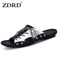 ZDRD New Arrival Summer Men Genuine Leather Sandals Beach Shoes Casual Comfortable Beach Slippers Massage Handmade Sandals Men