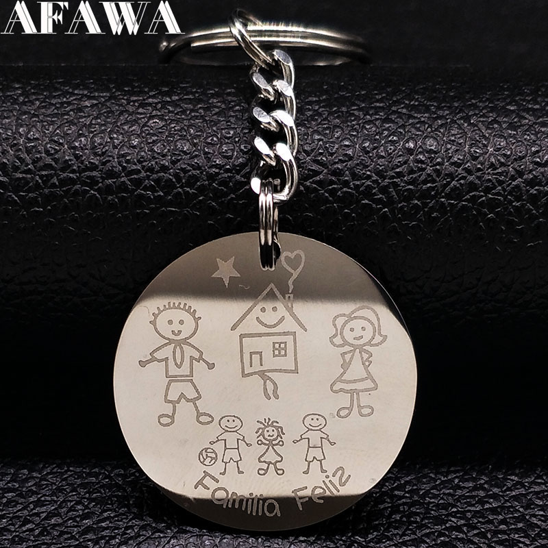 2019 Love Family Stainless Steel Key Ring For Women Fashion Two Boys And Girl Keychain Jewelry Gift Llaveros De Acero K77283