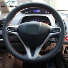 Auto-styling di Cuoio cucito A mano Volante Dell'automobile Coperture accessori per Auto Per Honda Civic 2005 2006 2007 2008 -2011 8th MK8