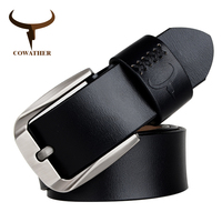 COWATHER Cow Genuine Leather Men Belts Pin Buckle For Male Black Brown Coffee High Quality Alloy