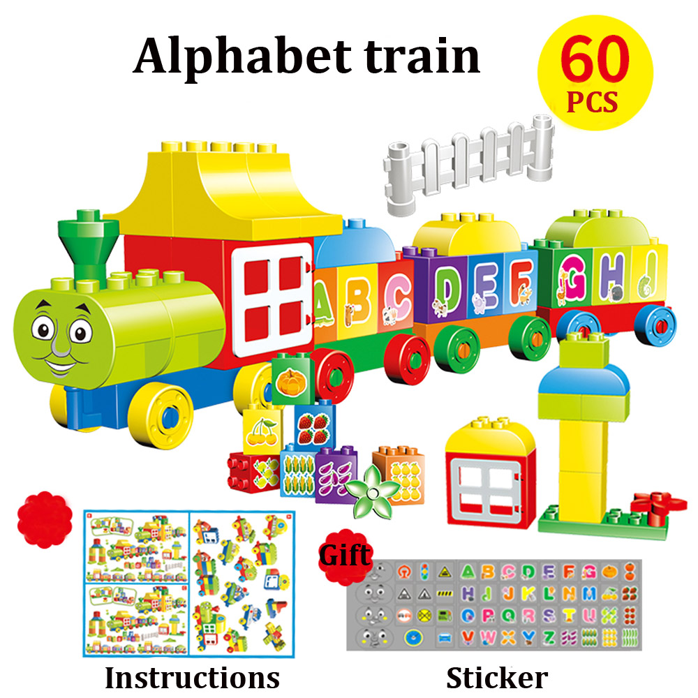 Digital Train Alphabet Letter Building Bricks 63 PCS Train Building Blocks Set