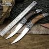 LCM66 Tactical Folding Pocket Knife Steel Blade Wood Handle Titanium Survival Knives Huntting Fishing Browning Tool