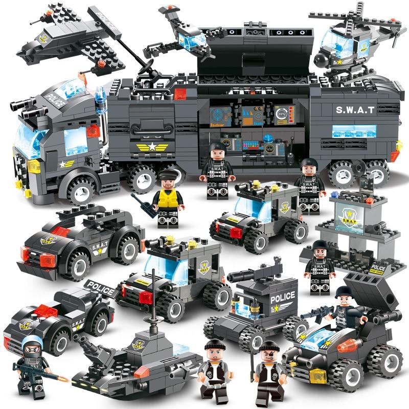 647 piezas 762 piezas de la policía de la ciudad de serie SWAT 8 en 1 de la ciudad de la camioneta de la policía de la estación de bloques de construcción de pequeños ladrillos de juguete para niños niño