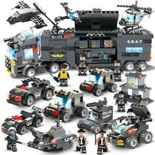 647 шт. 762 шт. City Полиция серии Сват 8 в 1 Город Полицейский грузовик станции строительные блоки маленькие игрушки Кирпичи для мальчиков