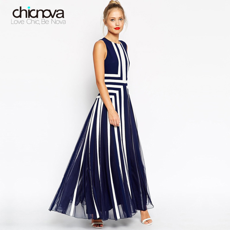 بالإضافة إلى حجم اللباس XXXXL المرأة مش مخطط فستان ماكسي فستان طويل من الشيفون تانك المرقعة الصيف TC19601010138