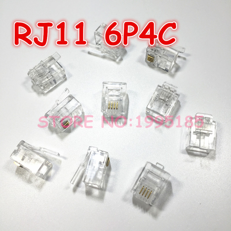 50 Pcs Durable 4 Core Telephone Network Connectors RJ11 6P4C Modular Plugs