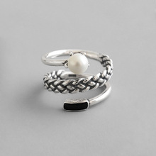 Vintage Old S925 Sterling Silver Open Ring Women Three Layer Twist Knitting Shell Pearl Retro Style Lady Rings Bijoux Femme цена 2017