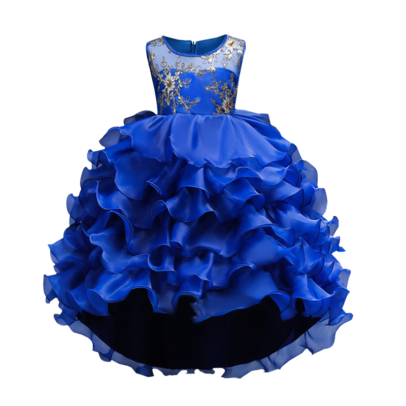 Kids Girls Party Dress Summer long tail Flower Formal Wedding Dresses Girls Princess Ball Gown Vestidos for 2-10Y Girls clothes