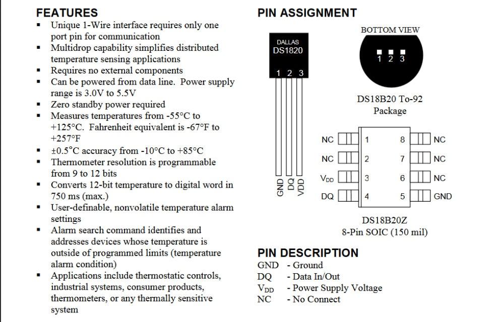 ; набор из 10 шт. DALLAS DS18B20 18B20 TO-92 микросхема термометр Температура Сенсор