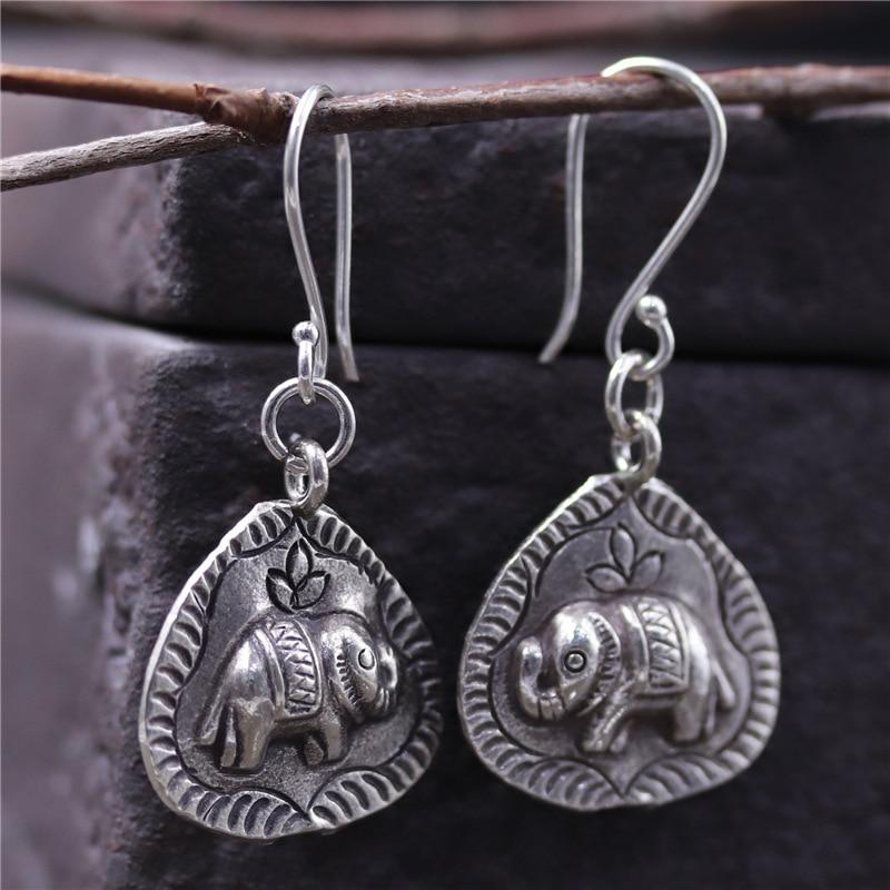 C&R Real 925 Sterling Silver Earrings for Women Leaf Shape Stamp Elephant Thai Silver Drop Earrings Handmade Fine Jewelry