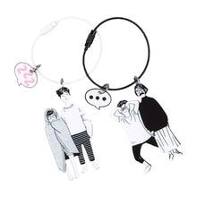 Cute Cartoon Couple Keychain Creative Acrylic Key Chain Ring Jewelry Accessories Sleutelhanger cute cartoon style couple lovers keychain silver pair