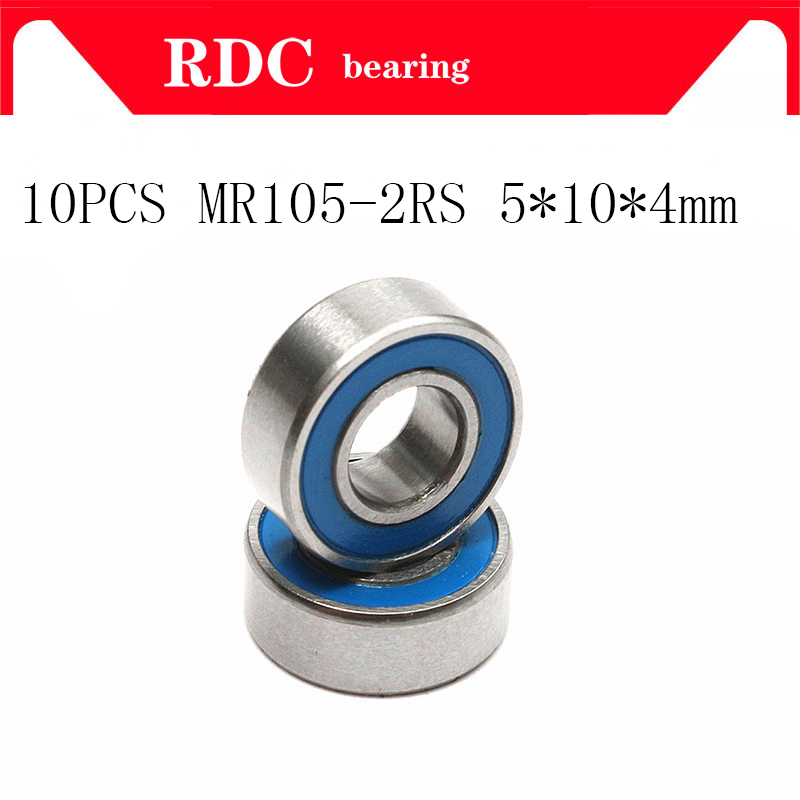 10PCS ABEC-5 MR105-2RS MR105 2RS MR105 RS MR105RS 5x10x4 mm Blue rubber sealed miniature High quality deep groove ball bearings free shipping 4pcs 13x19x4 blue rubber bearings abec 3 mr1913 2rs
