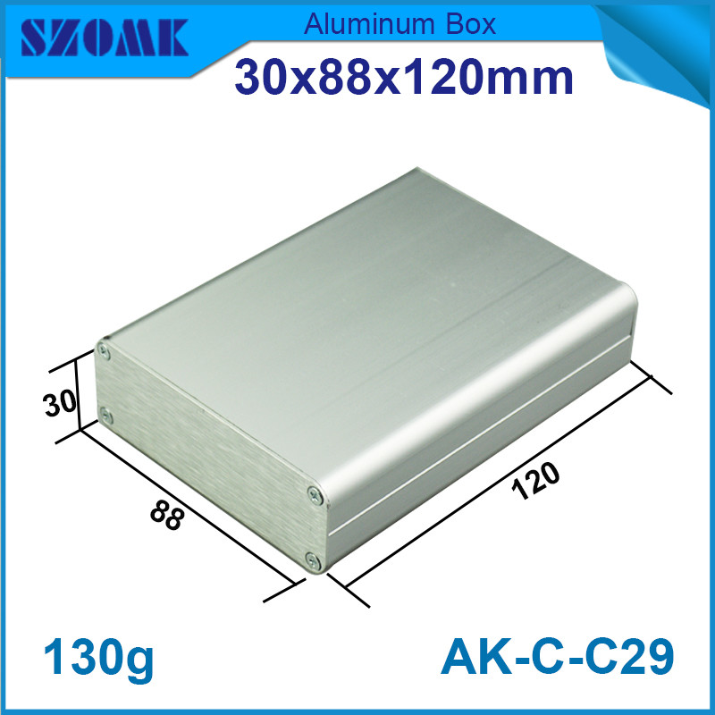 1 piece szomk brushed aluminum control housing enclosure electronics pcb borad box 30*88*120mm