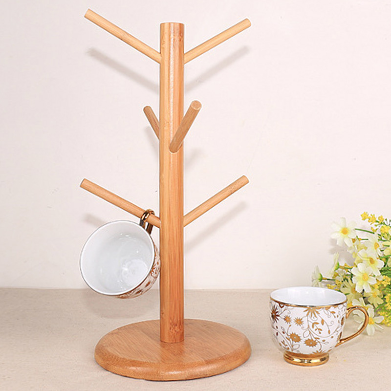 Wooden Tree Shape Coffee Mug Drying Cups Storage Rack Holder Home Kitchen Drain Hanger Stand Organizer with 6 Hooks