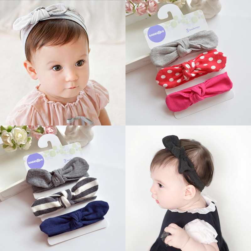 1 Set (3pcs) Cotton Rabbit Ears Headband For Girls Turban Bow Knot Headwear HairBand Hair Accessories For Kids 7 colors rabbit ears beanie baby girls boys toddler cotton soft turban knot cap beanie hat rabbit ears knot child caps