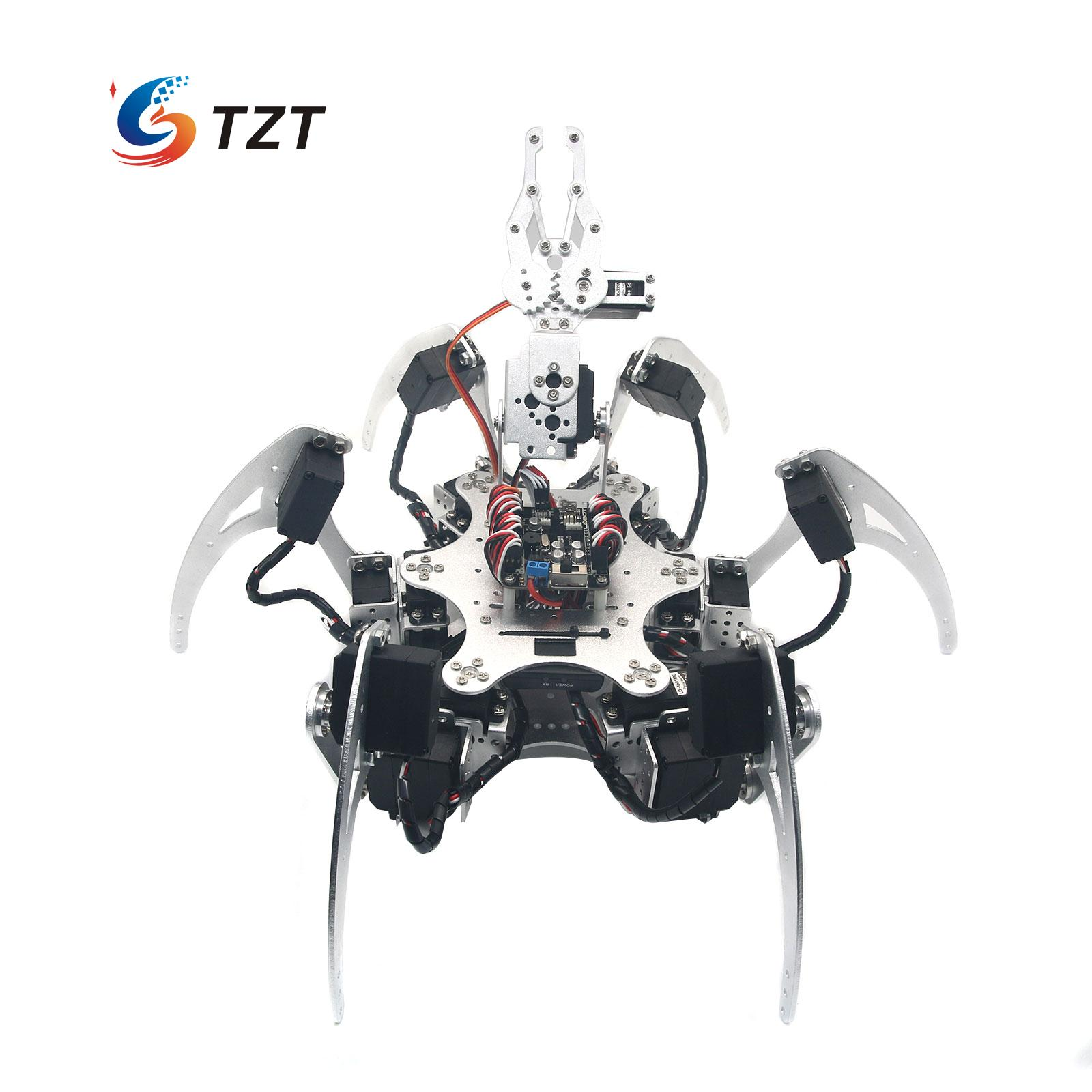20DOF Aluminium Hexapod Robotic Spider Six Legs Robot Frame Kit Compatible with Arduino Silver 20dof robot spider hexapod six legs robotic aluminium frame kit with 20pcs servo horn