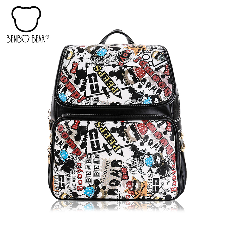 Benbo bear New  women and men Backpack Fashion Letter splicing Travel Backpack College Wind School Bags Free shipping free shipping 2015 new famous designer brand fashion leisure cavans school college wind backpack eiffel tower pattern